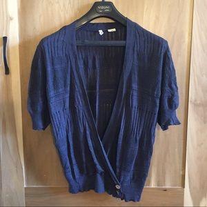 Blue Covet Soft Wrap Style Short Sleeve Cardigan